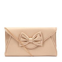Shell Pink Bow Envelope Clutch