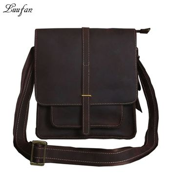 Men's crazy horse leather shoulder bag Vintage real leather messenger bag with big front pocket iPad casual leather school bag