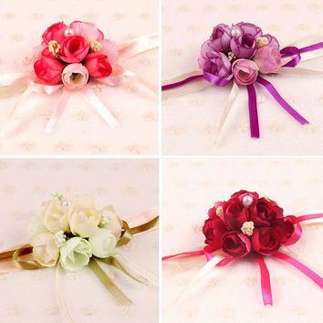 Dressv 4 Colors 2 Pcs/lot Pretty Silk Wedding Wrist Flowers Wedding Bouquet Bracelet Corsage Pearls Decoration wedding bouquet