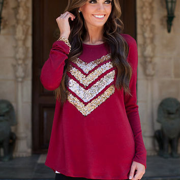 Hot Sparkly Chevron Tunic Burgundy CLEARANCE