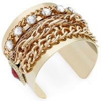 GUESS Gold-Tone Multi-Chain and Crystal Cuff Bracelet