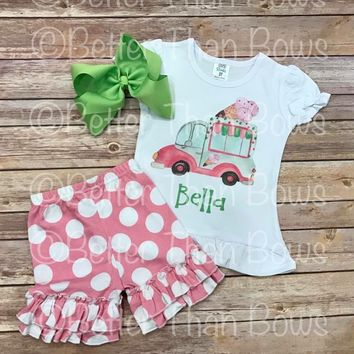 Retro Ice Cream Truck w/ Polka Ruffle Shorts Semi RTS