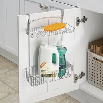"mDesign Over the Cabinet Kitchen Storage Organizer Basket for Aluminum Foil Sponges Cleaning Supplies - 2-Tier Chrome 2 Tier Basket - 11.5"" x 5.5"" x 15.5"""