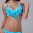 V Neck Blue Fringe Swimsuit