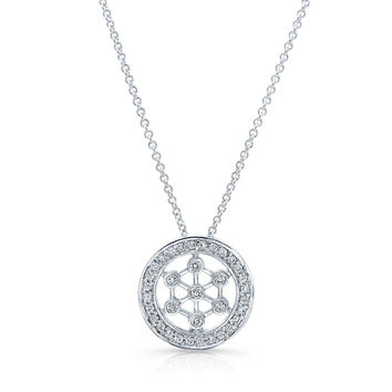 "Platinum diamond fashion pendant 0.25 ctw G color VS2 clarity diamonds with 16"" platinum necklace"