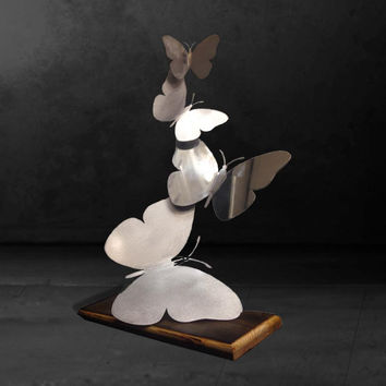 Floating Metal Butterfly Sculpture