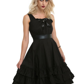 Black Bow Front Sleeveless Ruffle Dress