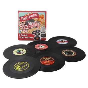 Set of 6 Vinyl Record Drink Coasters