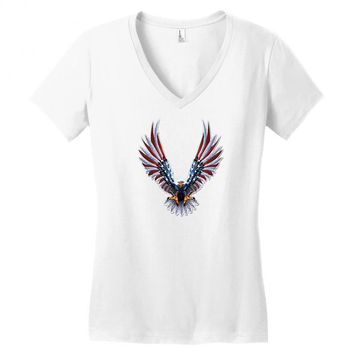 american eagle usa flag wings V-neck tee