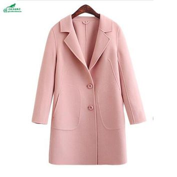 Korea autumn wool Outerwear new large high-end double-sided cashmere coat women's winter wool coat factory direct OKXGNZ QQ1094
