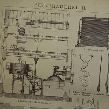 "BREWING old print 1905 antique German illustration of beer brewery brewer vintage pictures 16x25 6x10"" small prints"