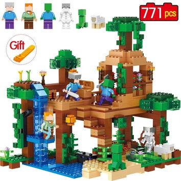 771pcs The Jungle Tree House Minecrafted Building Blocks kids Toys For Children birthday Compatible Legoed Minecrafted 21125