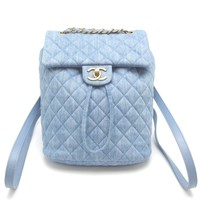 Auth Chanel Blue Denim Matelasse Rucksack Backpack Gold Hardware (DH46335)