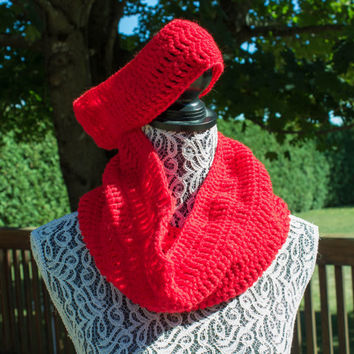 Bright Red Crocheted Scarf and Headband Set