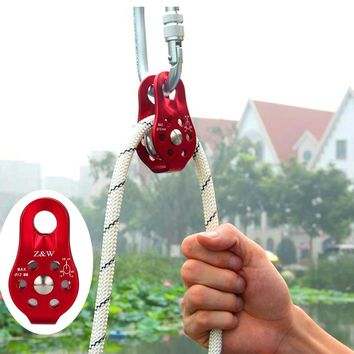 Fixed Pulley Mountaineering Rope Climbing Rappelling Survival Camping Equipment