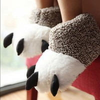 High-top Cotton Paw Slippers