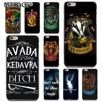 MaiYaCa For iphone 7 6 X Case Harry Potter Gryffindor Hufflepuff Ravenclaw Slytherin Phone Case for iPhone 8 7 6 6S Plus X 5 SE