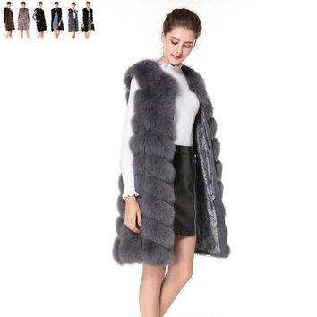 Real Fur Vest and Coats Fox Fur coats women Natural Fox Fur Vest 90CM Womens Real Fox Fur Vest Long Coat Ship by DHL 5 days