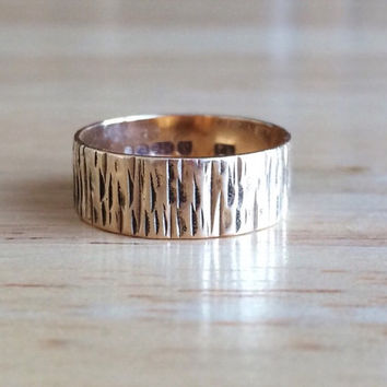 Wedding Band - Vintage 9ct Yellow Gold Textured Tree Design - Size 5 1/2 to 5 3/4 Unique One of a Kind Boho Engagement Antique Fine Jewelry