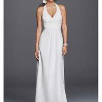Chiffon Sheath Halter Wedding Dress - Davids Bridal