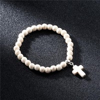 Natural Stone Beads Bracelets for Women Jesus Cross Charms Braclet Jewelry Accessories