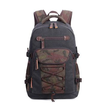 Men's Shoulder Bags Canvas Waterproof Large Capacity Backpack 19 inches Laptop Packing Bag Travel Bag Male USB Charging Connect