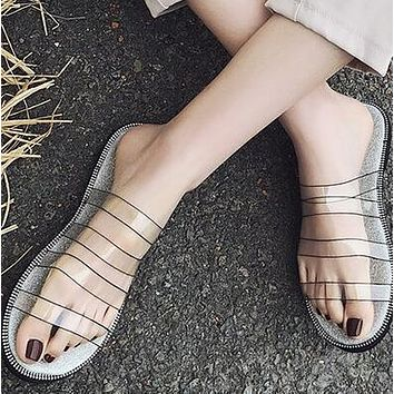 2018 Hot!Trending Stylish Summer Beach Home Women Transparent Thin Belt Personality Flat Shoe Sandals Slippers I11999-1