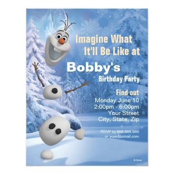 "Frozen Olaf Birthday Invitation 4.25"" X 5.5"" Invitation Card"