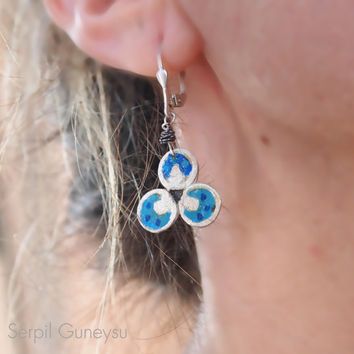 "Turquoise Blue Handmade Earrings, Sterling Silver, Ottoman Design Jewelry, Abstract, "" Chintamani """