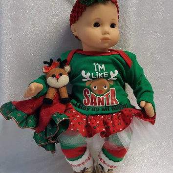"15 inch Baby Doll ""I'm Like Santa"" Christmas doll outfit Will fit Bitty Baby® Bitty Twins® dress leggings socks headband C4"