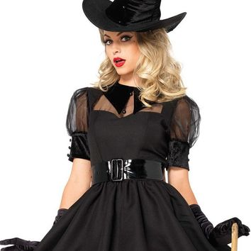 Pretty Little Witch Black Sheer Mesh Short Puff Sleeve Velvet Collar Flare A Line Mini Dress Halloween Costume