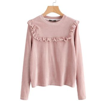 Frill Detail Yoke Ribbed Tee Fall Clothing Women Autumn Pink Long Sleeve Casual Womens T shirt Tops