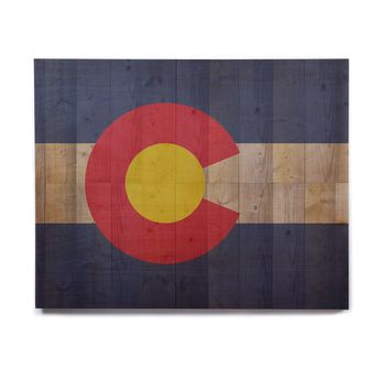 """Bruce Stanfield """"Flag of Colorado"""" Blue Red Birchwood Wall Art"""