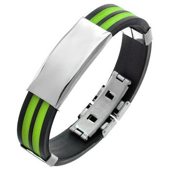 Rubber Bracelet with a Stainless Steel Plate for Men