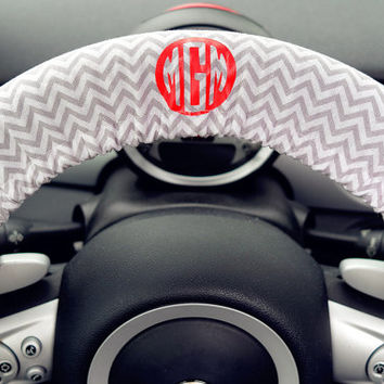 Personalized Chevron Car Steering wheel cover-Monogram initials gray chevron auto steering wheel cover