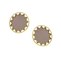 House of Harlow 1960 Sunburst Button Earrings in Khaki Leather