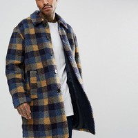 ASOS Borg Overcoat in Blue Check at asos.com