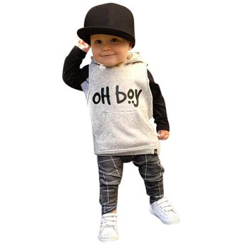 Fashion Toddler Infant Baby Boys Clothes Set Popular Hooded Long Sleeve Sweatshirt Tops+Pants Outfits Kid Boy Clothes Sets