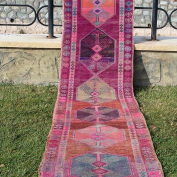 Oushak Runner Old Handmade Boho Pastel Faded Vintage Rug,  Runner Carpet Vintage Runner,  2.7 x 12.4 Feet  AG894