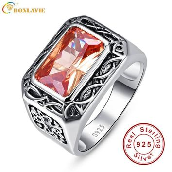 Vintage Men Silver Ring Jewelry 925 Sterling Silver Jewelry 6.75Ct Morganite Antique Square Rings