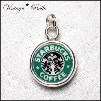 Starbucks Logo Broken China Jewelry Sterling by vbellejewelry