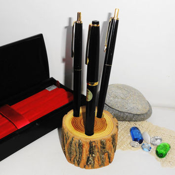Pencil Holder-Wood Pencil Holder- Osage Orange Wood Pencil Holder-Office Decor-Wood Desk Organizer-Rustic Wood Pencil Holder-Teacher Gift