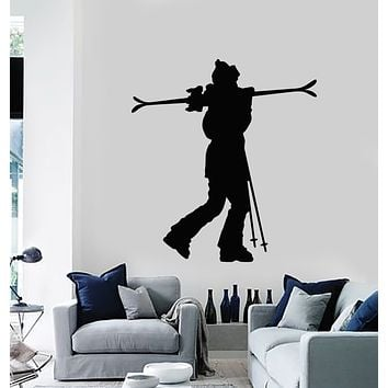 Vinyl Wall Decal Mountain Skier Winter Sport Downhill Skiing Stickers Mural (g300)