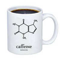 Caffeine Molecule Mug - Proclaim your love for coffee with this fashionable caffeine molecule design mug