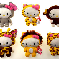 Hello Kitty Circus Set of 6 Plush Tiger Lion Giraffe Elephant Chimp Leopard