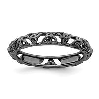 Sterling Silver Stackable Expressions Black Plated Celtic Knot Ring