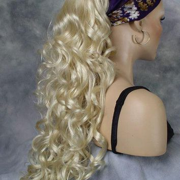 Long Curly Pale Blonde Clip-On Hair Piece Ponytail Extension!