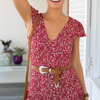 Floral Print Sleeveless V-Neck Romper