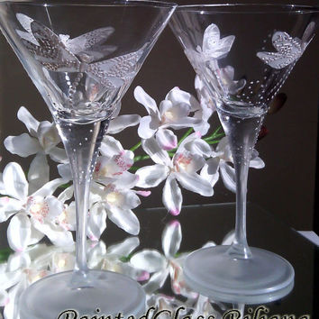 Set of 2 hand painted martini  glasses White dragonflies