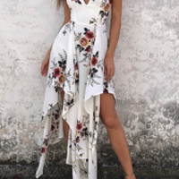 New summer sexy Women solid printing V neck Irregular long dress  -0522